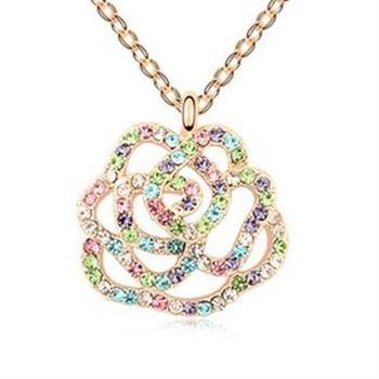 【米蘭精品】925純銀項鍊鑲鑽吊墜甜美氣質玫瑰花園
