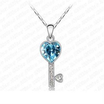 【米蘭精品】925純銀項鍊水晶吊墜韓版甜蜜愛心鑰匙