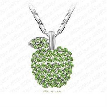 【米蘭精品】925純銀項鍊鑲鑽吊墜可愛吸晴蘋果造型