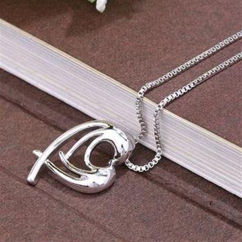 【米蘭精品】925純銀項鍊吊墜百搭流行心型短鍊