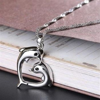 【米蘭精品】925純銀項鍊鑲鑽吊墜甜美愛心海豚造型