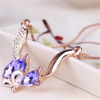 【米蘭精品】925純銀項鍊水晶吊墜可愛俏皮狐狸造型