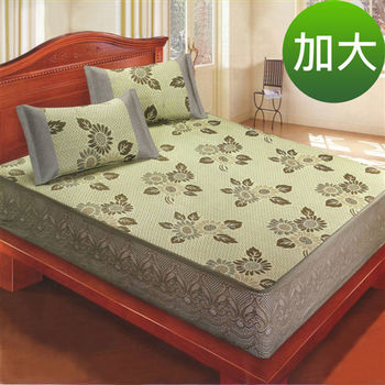 【綠意盎然】創新100%天然素材亞藤涼蓆雙人加大(包覆式)床包組