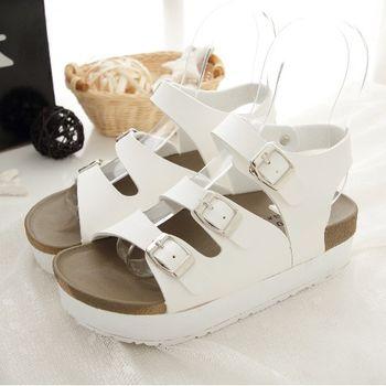《DOOK》休閒勃肯三帶式厚底涼鞋-白色