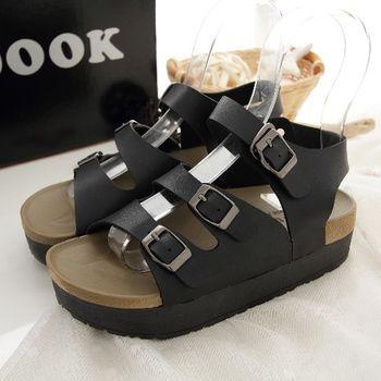 《DOOK》休閒勃肯三帶式厚底涼鞋-黑色