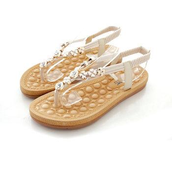 《DOOK》玫瑰幸運草鑽飾夾腳涼鞋-米色