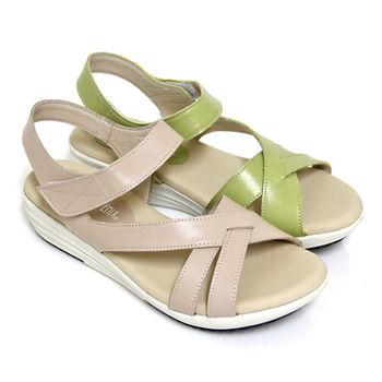 【GREEN PHOENIX】柔和單色交叉繞踝沾黏式全真皮小坡跟涼鞋-淺綠色、米色