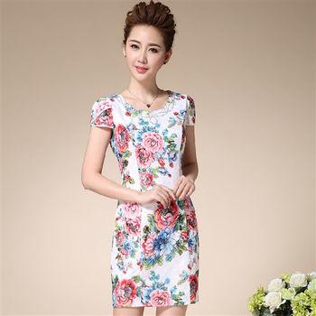 【糖潮】蕾絲復古幽雅改良式旗袍洋裝(共二色)