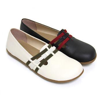 【Pretty】輕巧圓頭平底豆豆休閒鞋-米色、黑色