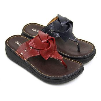 【Pretty】素雅立體花朵厚底夾腳拖鞋-紅色、藍色