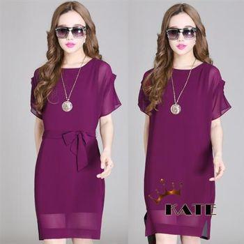 【KATE】綁帶圓領雪紡洋裝K205(氣質紫紅)