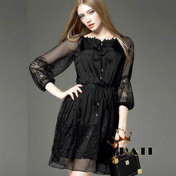 【KATE】極致蕾絲綁帶連身洋裝K220(顯瘦黑)