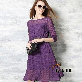【KATE】泡泡格七分袖連身洋裝K207(優雅紫)