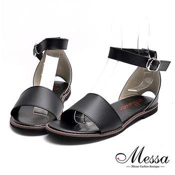 【Messa米莎專櫃女鞋】MIT後挖洞一字繫踝內真皮平底涼鞋-黑色