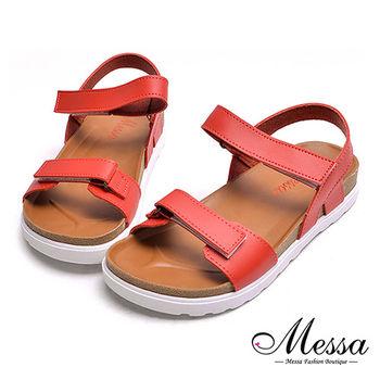 【Messa米莎專櫃女鞋】MIT極簡雙帶魔鬼氈舒適厚底涼鞋-紅色