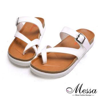 【Messa米莎專櫃女鞋】MIT層次感交叉套趾金屬釦厚底涼拖鞋-白色