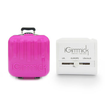 【iGimmick】USB雙充萬用轉接頭 桃紅行李箱
