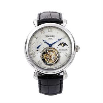 【MANLIKE曼莉萊克】尊榮典藏陀飛輪腕錶 銀(機械錶、陀飛輪)