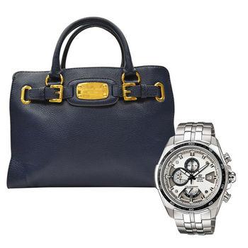 【MICHAEL KORS】金牌牛皮鏈條肩背手提兩用包錶超值組(深藍)