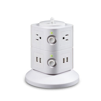 智慧型安全站立式插座(含4ports USB)(二層/白色)