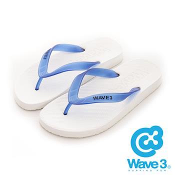 WAVE 3 (男) - 看見你 果凍透視感人字夾腳拖鞋 - 藍帶白