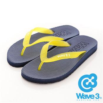 WAVE 3 (男) - 看見你 果凍透視感人字夾腳拖鞋 - 黃帶藍