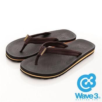 WAVE 3 (男)  - 輕快的 波麗織帶人字夾腳拖 - 黃底咖