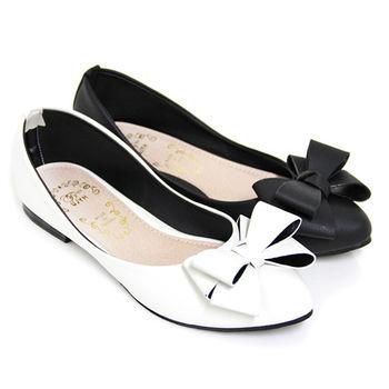 【Pretty】雙層蝴蝶結尖頭平底鞋-白色、黑皮