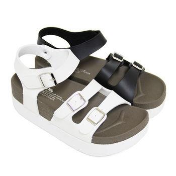【Pretty】雙排扣環沾黏式繫踝休閒厚底涼鞋-白色、黑色
