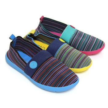 【SNAIL蝸牛】文青女孩多彩撞色民俗風鬆緊布平底休閒懶人鞋-黃色、綠色、藍色