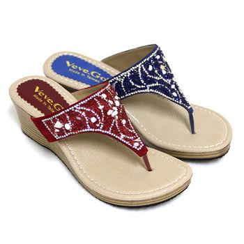 【Pretty】碎貝沙水鑽飾楔型夾腳拖鞋-紅色、藍色
