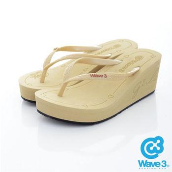 WAVE 3 (女) - 6公分前高後高 品牌LOGO超高底人字拖鞋 - 金