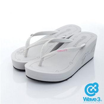WAVE 3 (女) - 6公分前高後高 品牌LOGO超高底人字拖鞋 - 素灰