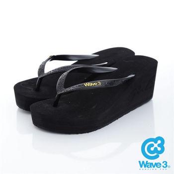 WAVE 3 (女) - 6公分前高後高 品牌LOGO超高底人字拖鞋 - 素黑