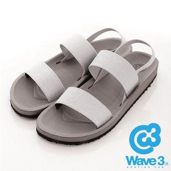 WAVE 3 (女) - 二線道 無重量感亮亮布面羅馬涼鞋 - 淺灰