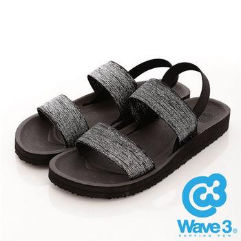 WAVE 3 (女) - 二線道 無重量感亮亮布面羅馬涼鞋 - 銀蔥黑