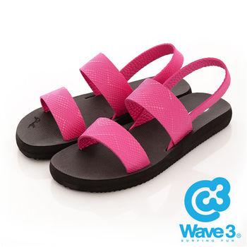 WAVE 3 (女) - 二線道 無重量感潛水羅馬涼鞋 - 黑底粉