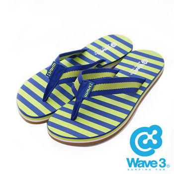 WAVE 3 (女) - 海灘一夏 織布條紋橡膠人字夾腳拖鞋 - 藍綠