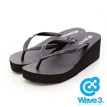 WAVE 3 (女) - 線條美女 楔型高底素色人字夾腳拖鞋 - 黑