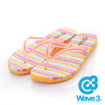 WAVE 3 (女) - 果凍QQ 雙層瑜珈大底人字夾腳拖鞋 - 桔