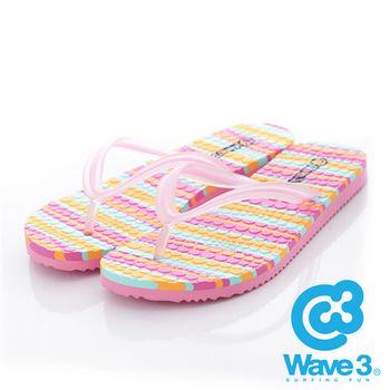 WAVE 3 (女) - 果凍QQ 雙層瑜珈大底人字夾腳拖鞋 - 粉