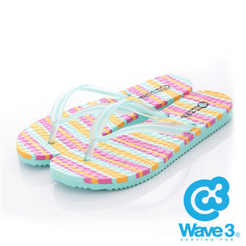 WAVE 3 (女) - 果凍QQ 雙層瑜珈大底人字夾腳拖鞋 - 綠