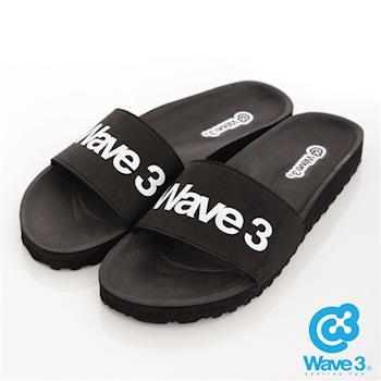 WAVE 3 (女) - 健康足底印模一片橡膠拖鞋 - logo黑