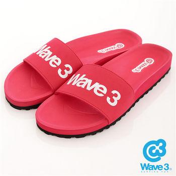 WAVE 3 (女) - 健康足底印模一片橡膠拖鞋 - logo紅
