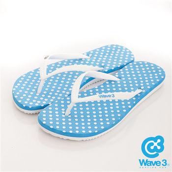 WAVE 3 (女) - 水玉點點人字夾腳EVA拖鞋 - 點點藍
