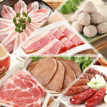 【台糖安心豚】 烤肉飄香特惠 8 件組(調味豬排/貢丸/梅花肉排/培根/香腸/肉片)