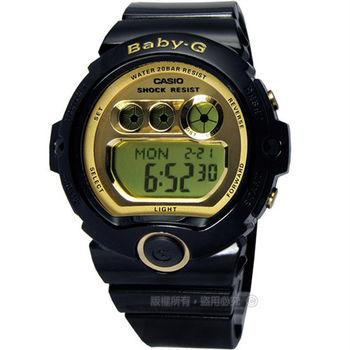 Baby-G CASIO / 運動甜心閃耀光澤金屬鏡面腕錶 黑x金〈BG-6901-1〉