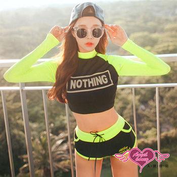 天使霓裳 泳衣 性格甜心 長袖兩件式泳裝(黑M~XL)-JH16006