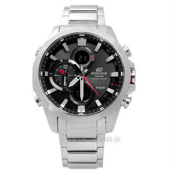 EDIFICE CASIO / ECB-500D-1A 卡西歐競速狂飆智慧藍牙三環計時太陽能不鏽鋼手錶 紅黑x銀 44mm