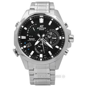 EDIFICE CASIO / EQB-510D-1A 卡西歐精煉風格智慧藍牙日期太陽能不鏽鋼手錶 黑色 48mm